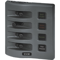 Blue Sea Panel WD 12VDC Fused 4pos Gray