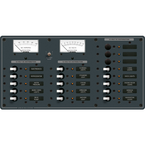 Blue Sea Panel DC 18pos V/AMtr