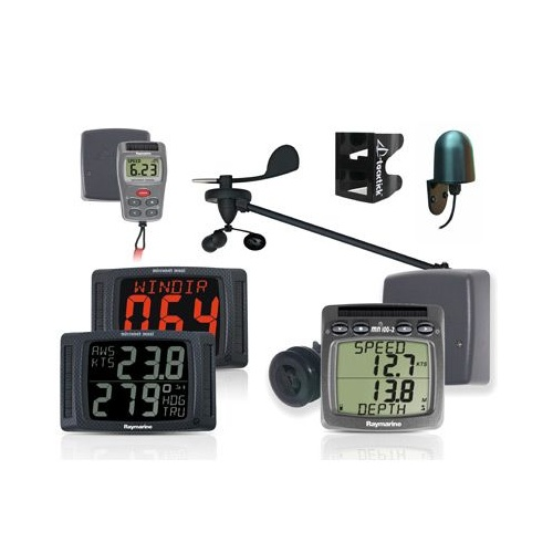 Raymarine Performance Pack 30 (wind, speed, depth & compass txducers, 2-up mast bracket, NMEA interface, dual, maxi, dual maxi, & remote control displ